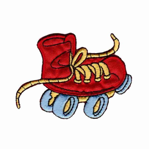 Rollerskate Patches - Wacky Roller Skate - Red - Iron On Childre