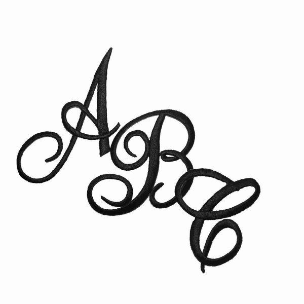 Embroidered Script BLACK Iron On Letters - Sold Separately