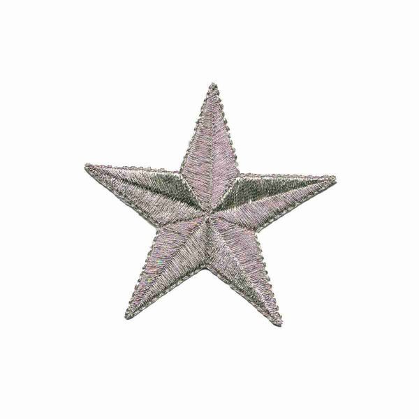 2.5 inch Silver Star iron on patch