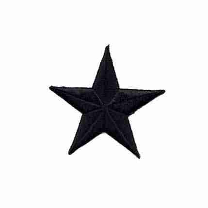 3-Inch BLACK Star Iron On Appliques