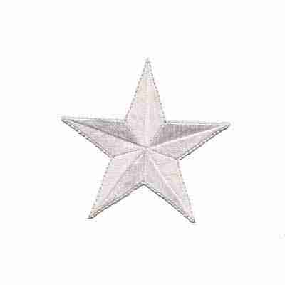 3 Inch WHITE Star Iron On Patch Appliques