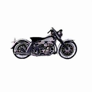 Motorcycle-Black/Grey- Iron On Biker's Patch Applique