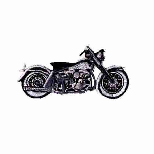 Motorcycle-Black/Grey- Iron On Biker's Patch Applique