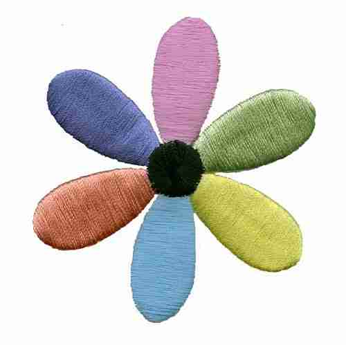 6-Petal Pastel Colored Daisy Iron On Floral Applique