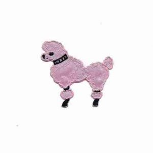 "Dogs - Poodle - 2-1/8""H Small Pink Rt or Lt Facing Iron On Appli"