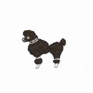 "Dogs - Poodle - 2-7/8""H Medium Black Rt or Lt Facing Iron On App"