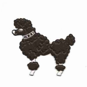 "Dogs - Poodle - 4-3/8""H Large Black Rt or Lt Facing Iron On Appl"