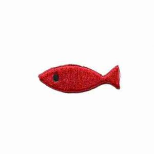 Fish - Embroidered RED Plain Fish Iron On Sealife Patch Applique