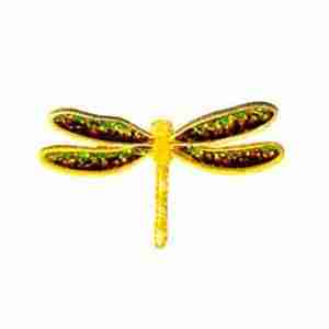 Dragonflies - Iridescent Sparkle YELLOW Dragonfly Iron On Patch