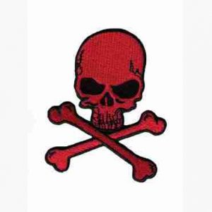 Small Iron On Skull & Crossbones in RED Patch Applique
