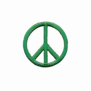 Embroidered Cutout Peace Sign in GREEN Iron On Patch Appliques