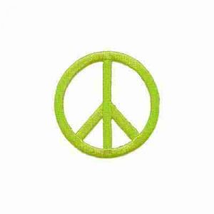 Embroidered Cutout Peace Sign in LIME Iron On Patch Appliq