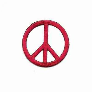 Embroidered Cutout Peace Sign in RED Iron On Patch Appliq