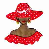 Tan Red Hat Lady with polka dots - SMALL- Iron On Applique