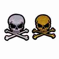 Small Skull & Crossbones in WHITE Iron On Patch
