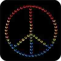 "Peace - Small Rhinestud 1 3/4"" Peace Sign Iron On Applique"