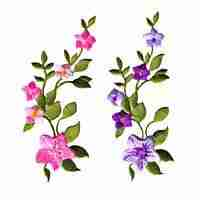 Small Purple or Pink Flowers on Vine Iron On Applique