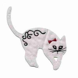 Cats - Satin Arched Right Facing Cat in WHITE Iron On Patch