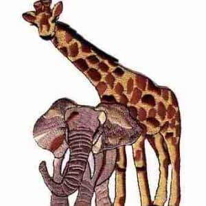 Giraffe - Giraffe & Elephant -LARGE- Iron On Jungle Animal Appli