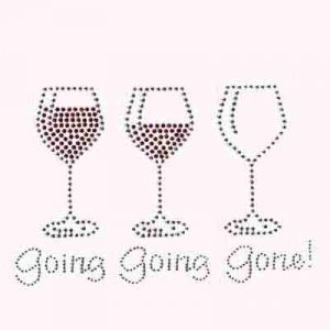 Spirits - Going Going Gone Wine Rhinestud Iron on Applique