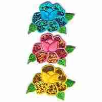 Blue Iridescent Flower Iron On Floral Applique