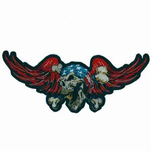 Winged American Skull Backpatch
