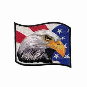 Birds - Eagles - Bald Eagle Head with American Flag Iron on Patc