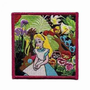 Alice in Wonderland in the Garden Iron on Patch Applique