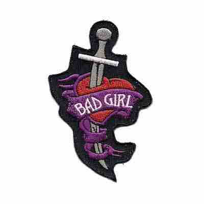 Bad Girl Heart and Dagger Iron on Patch