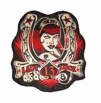 Lady Luck Backpatch Iron on or Sew On Applique