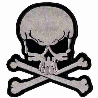 Large Skull & Crossbones in SILVER Iron On Patches