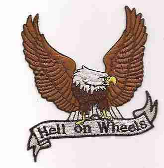 Hell on Wheels Eagle Backpatch Iron On Biker Patch