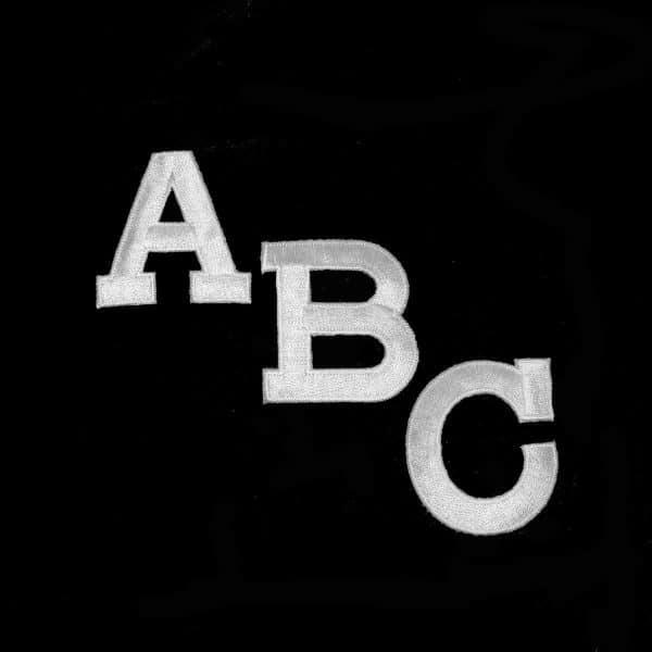 White Block Letters Iron on Alphabet Appliques