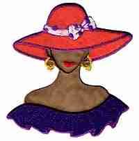 Tan Red Hat Lady w/Purple Shoulder Flounce Applique Large
