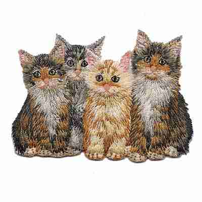 Cats - Four Cute Kittens Iron on Patch Applique