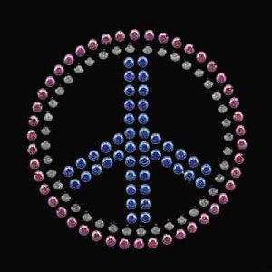 Peace - Medium Rhinestud Peace Sign Iron on Applique