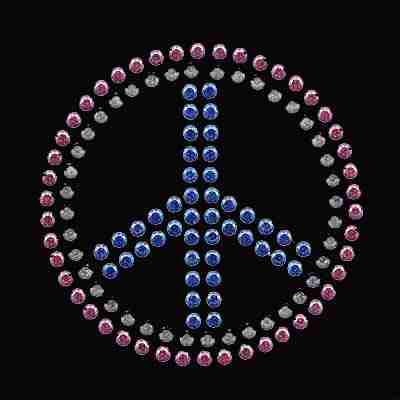Peace - Medium Rhinestud Peace Sign Iron on Applique