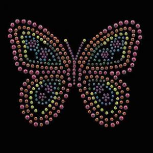 "Butterflies - Multicolored Rhinestud Butterfly 4"" H Iron on Appl"