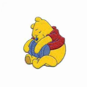 Winnie the Pooh Loving his Honey Pot Iron on Patch Applique
