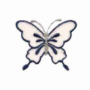 Butterflies - White Chiffon w/Navy Butterfly Iron on Patch Appli