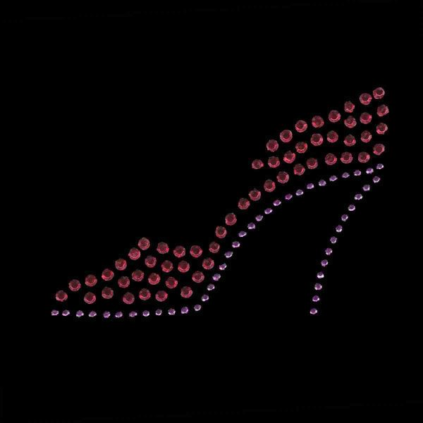 Red Hat Rhinestud High Heel Shoe Applique - Lt Facing