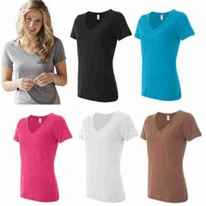 E) Ladies Mid-Depth V-Neck 3.2oz Cotton Blank T-Shirt