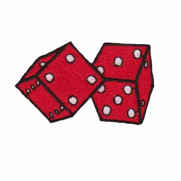 Dice - Red or Gold Double Dice Iron On Gambling Patch Applique
