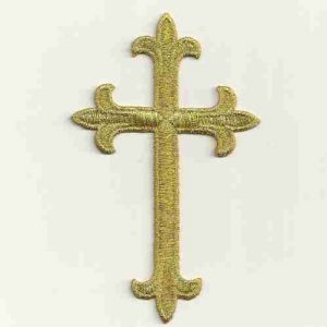 Metallic Gold Cross Iron On Patch Applique