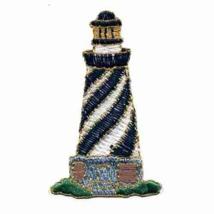 Black and White Lighthouse Iron on Patch