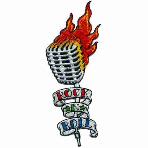 Rock N Roll Vintage Flaming Microphone Iron or Sew On Patch Appl