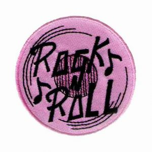 Pink Rock N Roll Vinyl Record Patch Iron on applique