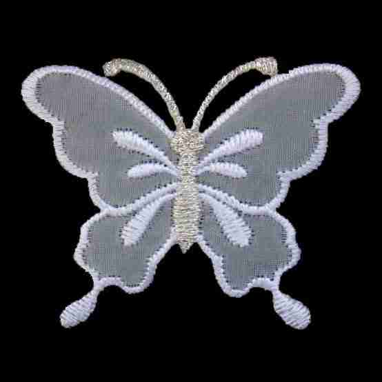 Butterflies - White Translucent Chiffon Butterfly Iron on Patch Applique