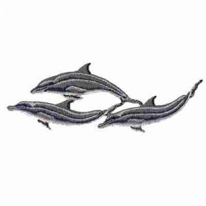 "Dolphin Patches - Trio of Grey Bottlenose Dolphins 6-1/4""Wx2-1/8"