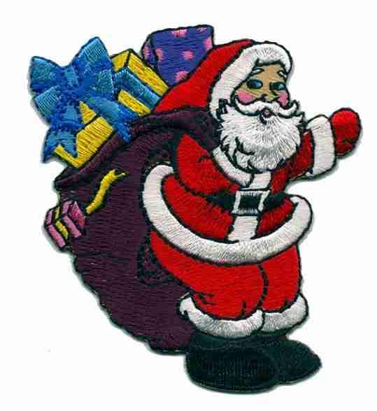 Christmas Santa Claus with Bag of Presents Applique